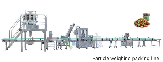 Particle weighing, filling, capping, labeling, production line